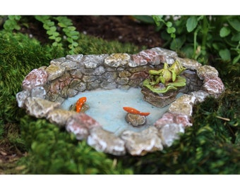 Lazy Day Pond with Frog and Coy Fish for the Fairy Garden
