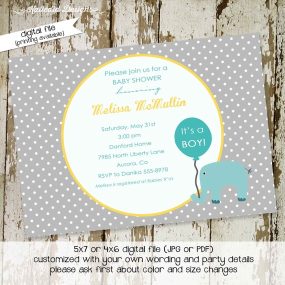 elephant theme baby shower invitation rustic baby boy shower little boy 1st birthday co-ed baby shower diaper wipe gay 1271 Katiedid Designs