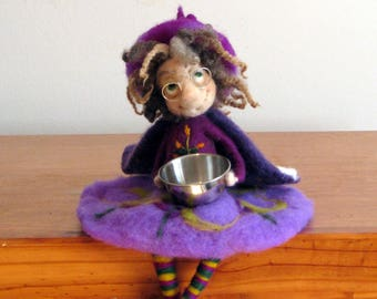 Halloween witch Art doll Needle felted Felted witch Halloween decor Home decor Kitchen witch