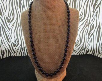 Dark Purple & Black Pearl Necklace