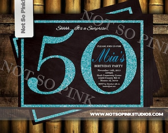 50th Name Your Number Birthday Invitation