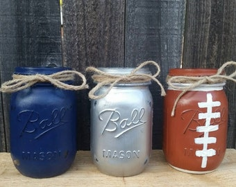 Distressed Mason Jars, Dallas Cowboys Decor, Football Mason Jars Blue and Silver Decor, Football Party Decor, Fathers Day, Gift For Him