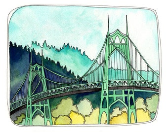 Art Print - Art Print Watercolor - Portland Illustration - Portland Bridge Art - Portland Oregon Art - 8x10 Art Print - St Johns Bridge