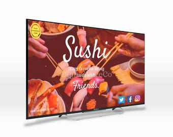 Easy Quick CUSTOM Digital Signage Poster TV Screen Monitor Template Sushi Restaurant Japanese Bar Fast Food_9005