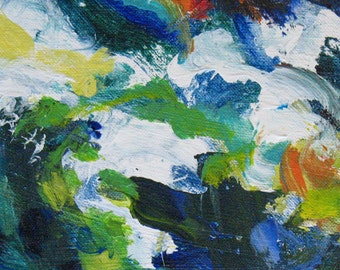 Clematis ABSTRACT Painting 6 x 11 ORIGINAL floral green blue