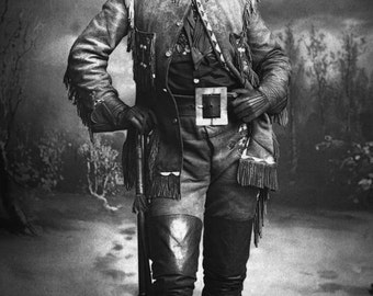 Vintage historical photo Buffalo Bill Cody 1800s Wild West antique photograph William F Cody PRINT poster