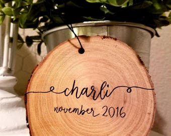 Personalized Christmas Ornament, rustic Christmas ornaments, wood splice ornament, Christmas Ornaments handmade