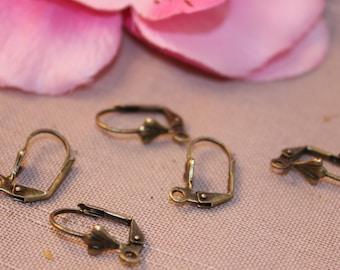 Lot 5 pairs of earrings brackets Bronze 17x10mm