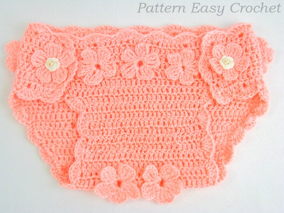 Crochet Pattern Baby Diaper Cover Floral Instant Download
