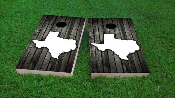 Wood Texas Themed 2x4 Custom Cornhole Board Set With Bags