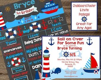 Nautical Birthday Chalkboard, Nautical invite, boy's nautical invitation, boy's first birthday nautical chalkboard, nautical party decor