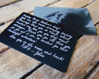 Engraved Picture Wallet Card -  Sentimental Gift for Dad - Personalized text for back