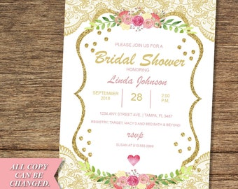 Victorian Flower Bridal Shower Invitation FLW-06-INV-BSI-Digital Download