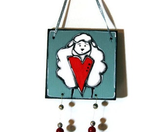 Sheep and heart on mobile wood plates - Sheep door hanger - Sheep and heart door sign