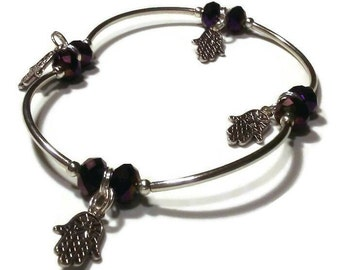 Plus size bracelet, anklet, purple crystal hamsa charm beaded stretch bracelet
