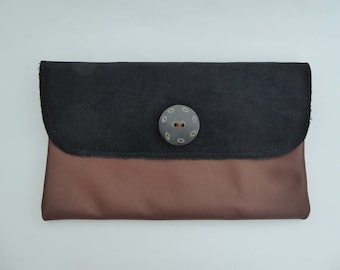 Leather & Black Velvet Clutch Bag