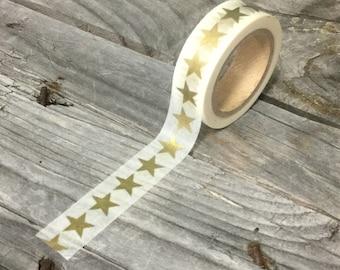 Washi Tape - 15mm - Metallic Gold Stars on White - Deco Paper Tape No. 975