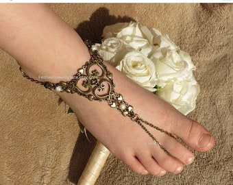 Foot jewelry toe ring anklet barefoot sandals, boho barefoot sandals, beach wedding shoes, body jewelry anklet with ivory pearls and hearts