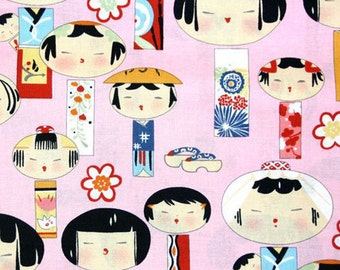 Fat Quarter - Yui Kokeshi Pink Japanese Alexander Henry fabric 6757A