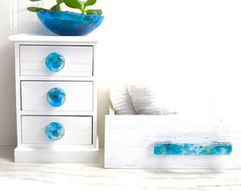 TRANQUILITY handmade glass cabinet hardware knobs handles pulls dresser drawers kitchen cabinets bathroom decor blue green clear unique art
