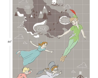 Disney Fabric Peter Pan Panel in Grey From Camelot 100% Premium Cotton