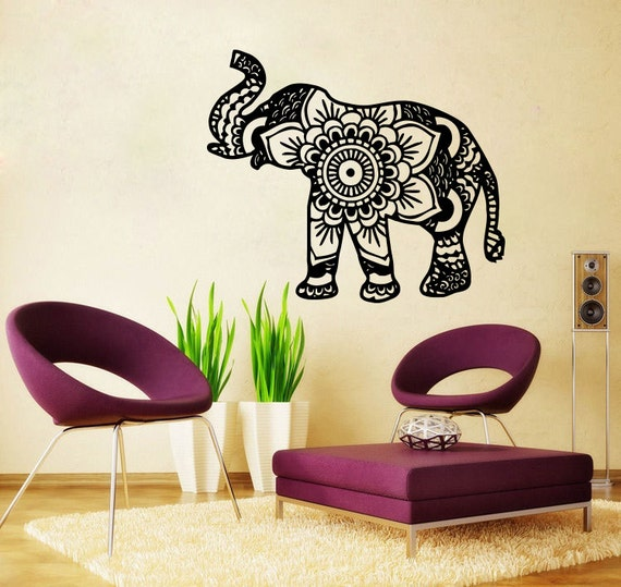 Small Elephant Decor: Elephant Wall Decal Namaste Lotus Flower Wall Decals Vinyl