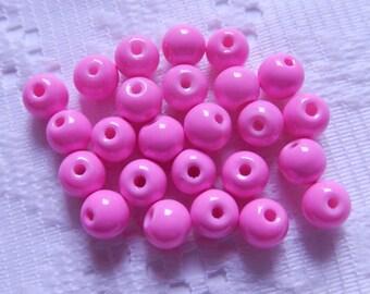 25  Hot Pink Bubblegum Opaque Round Glass Beads  6mm
