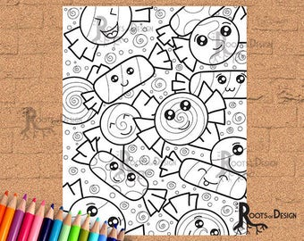 INSTANT DOWNLOAD Candy Coloring Print, doodle art, printable