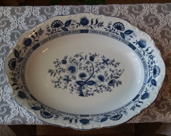 Serving Dish Stone China Made in Japan, Serving Platter, Blue and White Floral Design, Stone China, Bridal Shower, Wedding Gift, Retro