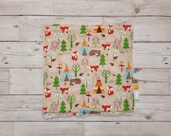 Woodland animals baby boy/girl comforter, sensory blanket, lovey, blankie, fleece