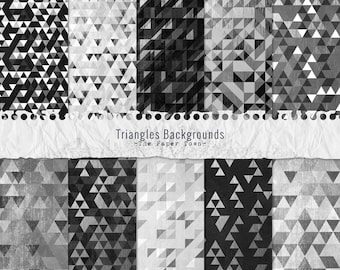 Silver and Black Triangles Backgrounds Digital Papers  - 10 Triangles Patterns Digital Layouts - (300dpi 12x12 - JPG) Instant Download