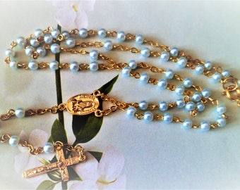 Rosary beads Blue Cross Center gold with lobster clasp 41 Cm