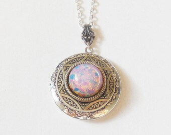 Silver Locket  necklace. Pink  Fire Opal   Necklace-Mothers Day gift.photo locket gift for her-opal necklace.silver locket christmas gifts