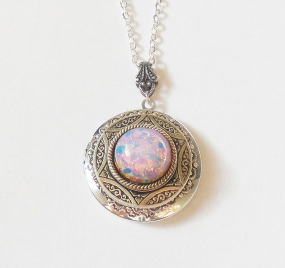 silver necklace pin style lockets locket clockworkalley in white antique opal by victorian