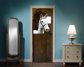 Door Mural Horse Horses Stable View Effect Decal Mural Home Decor Window  Sticker Wallpaper Home Living Vinyl Art Bedroom Lounge Kitchen 44B