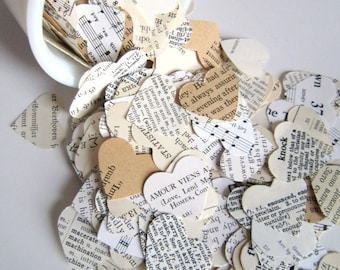 Romantic Heart Confetti / vintage wedding decor . paper hearts old book pages