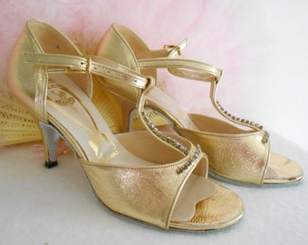 Awesome 1930's Style Freed of London Gold Dance/Tap/Ballroom  Shoes Never been Worn