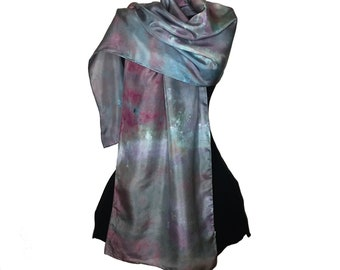 Silk Scarf Teal Green, Hand Painted Silk Scarf, Gift for Her, Long Scarf, Abstract Scarf