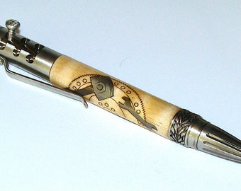 Wood Pen - Inlaid Mechanics Gearshift Pen