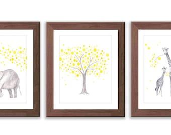 Elephant and Giraffe Nursery Art - Yellow and Gray Nursery - Elephant Nursery - Giraffe Nursery - Watercolor Prints - Set of Three - S015W