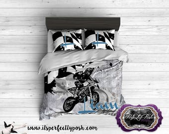 Motocross Flag and Bike Theme Bedding Custom Design and Personalized Comforter or Duvet with Monogram