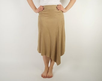 Beige Brown Suede Skirt Asymmetric Pencil Skirt 80s 90s Style Country Style