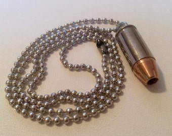 9mm Nickel Cased Bullet Necklace - Keychain Pendant - Bullet Zipper Puller - ALL IN ONE! Very Handy! Handmade, One Of A Kind