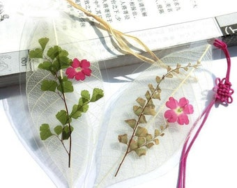 5 pcs 9-12cm Cherry blossoms tree leaf vein bookmark ,unique gift/present,Chinese Style Handicrafts,Plant specimen dried flowers