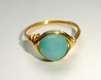 Gold Amazonite wire wrapped ring, Amazonite wire wrapped ring, Gemstone ring, Blue green stone ring, Gifts