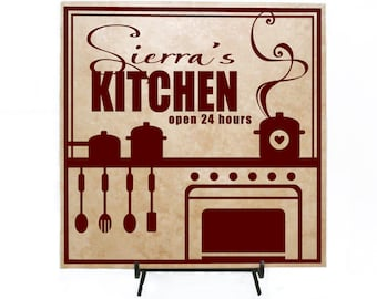 Kitchen Decor Wood Sign, Personalized Name Gift for Mom, Kitchen Open 24 Hours, Mother's Day Gift, Housewarming Gift, Custom Kitchen Decor