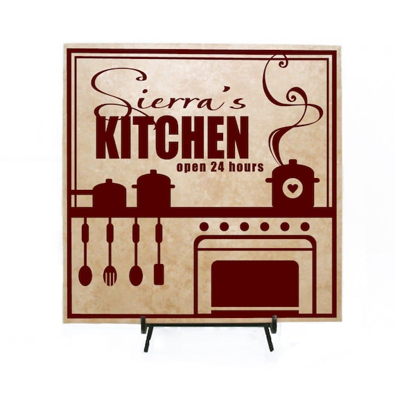 Kitchen Decor Wood Sign Personalized Name Gift For Mom