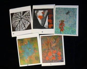 Blank note cards, original fiber art, set of five