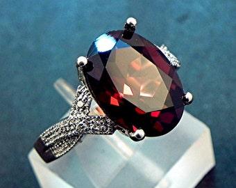 AAAA Red Garnet   14x10mm  6.23 Carats   in a 14k White gold ring with diamonds (.08ct) Ring MMM