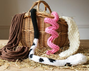 Horse Pig Cow Sheep Tail DIY Dressing up Costume Crochet Pattern ~ World Book Day~ for kids and adults